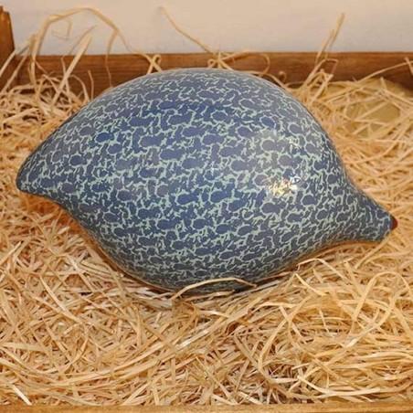 Caille en Ceramique bleu et turquoise