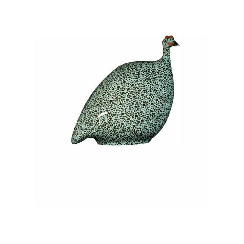 Pintade en Ceramique Noire et turquoise