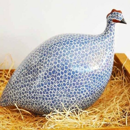 Pintade en Ceramique Bleue