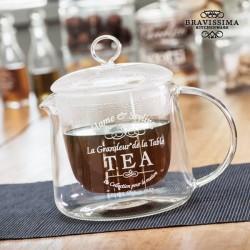 Teiera in vetro trasparente