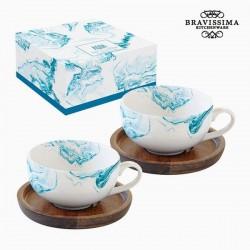 2 Tassen Porzellan, blaues...
