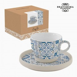 Cup with porcelain saucer, blue mosaic