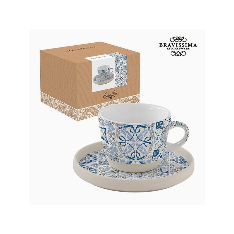 Tasse avec sous-tasse en porcelaine, mosaïque bleue