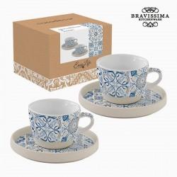 Juego de tazas de porcelana azul (2 piezas)