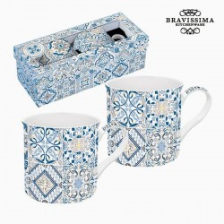 2 small porcelain mugs, blue mosaic