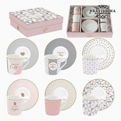 6 tasses en porcelaine rose...