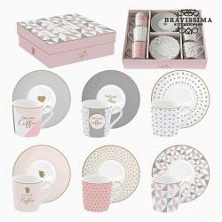 6 tazas de porcelana rosa y...