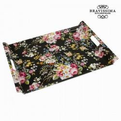 Black flowered tray