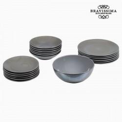 Gray Dinner Plates (19 pcs)