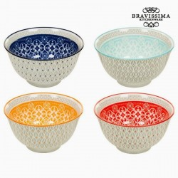Set of 4 porcelain bowls -...