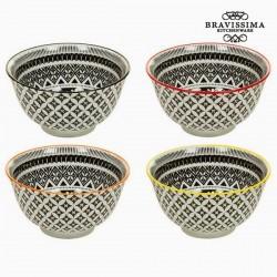 4 black porcelain bowls