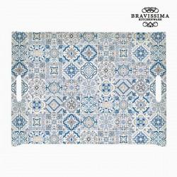 Blauw porseleinen dienblad