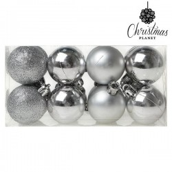Boules de Noël Christmas 6868 4 cm (16 uds) Argenté