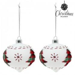 Kerstballen Christmas 2003 8 cm (2 uds) Kristal Wit
