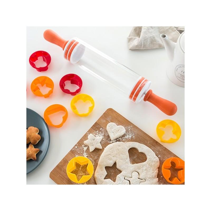 Rouleau avec moules pour biscuits (9 pièces)
