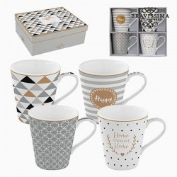 4 porcelain cups, gray, gold