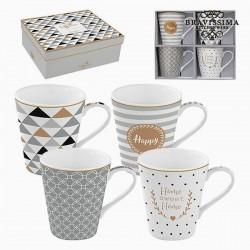 4 tazas de porcelana, gris, oro
