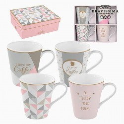 4 porcelain cups, pink and...