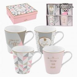 4 Porzellantassen, pink und...