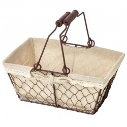 Rectangular metal basket