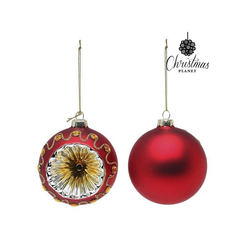 Boules de Noël 1662 8 cm (2 uds) Verre Rouge