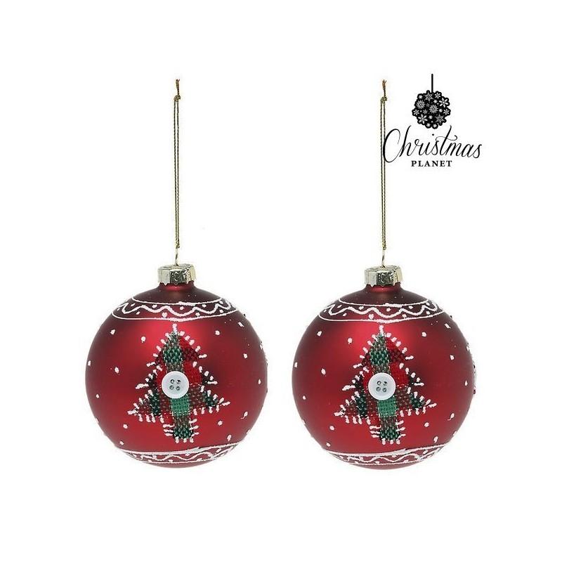 Boules de Noël 1785 8 cm (2 uds) Verre Rouge