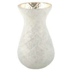 Chiselled white vase, frosted