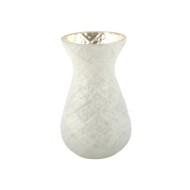 Gemeißelte weiße Vase, mattiert