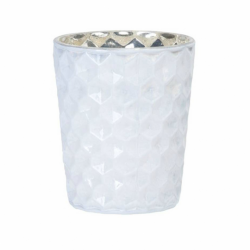 Glass tealight holder, glossy white