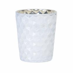 Glazen theelichthouder, glanzend wit