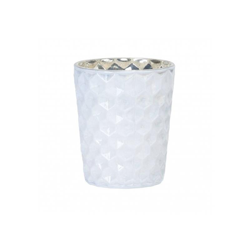 Teelichthalter aus Glas, glänzend weiß