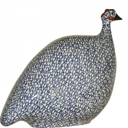 Ceramic guinea fowl Lussan white-blue large model