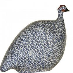 Ceramic guinea fowl Lussan white-blue large model