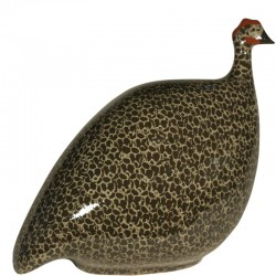 black and gray Lussan ceramic guinea fowl