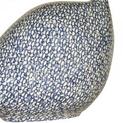 Parelhoen in keramiek lussan wit-blauw medium model