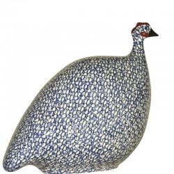 Perlhuhn aus Keramik Lussan weiß-blau mittleres Modell