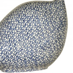 Guinea fowl in ceramic from lussan white-blue small model