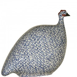 Gallina de Guinea en cerámica de lussan blanco-azul modelo pequeño