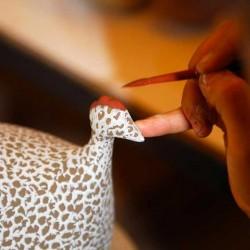 Parelhoen in keramiek lussan mat blauw-wit groot model