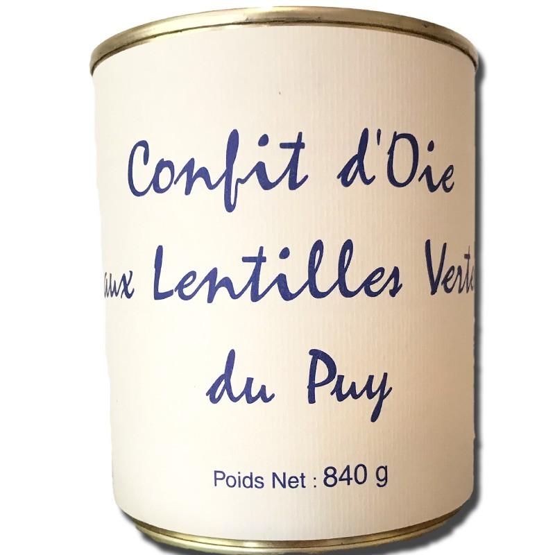Confit d'oie aux lentilles vertes du Puy, boite 840g - épicerie fine en ligne