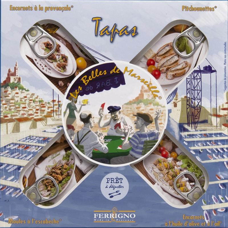Scatola da 4 scatole di tapas mediterranee - Gastronomia francese online