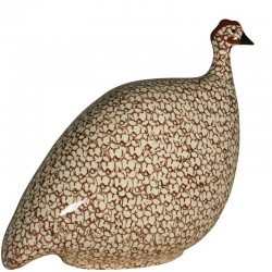 Guinea Fawl in ceramica bianco-bordeaux