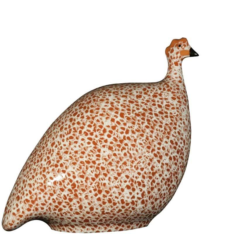 Keramisches Perlhuhn rot - weiß klein