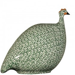 White-green ceramic guinea fowl medium model