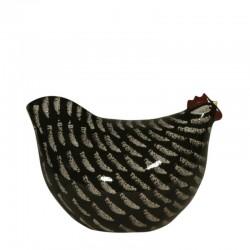 Pollo en cerámica negra, modelo pequeño.