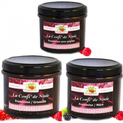 Assorted small raspberry jams