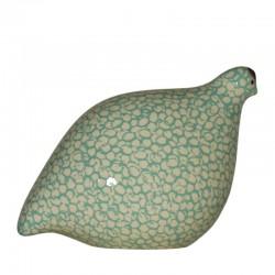 Caille en céramique de Lussan blanc turquoise