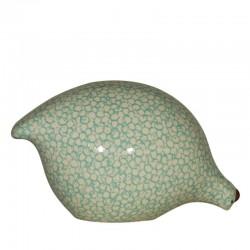 Keramik Wachtel Weiß und Türkis