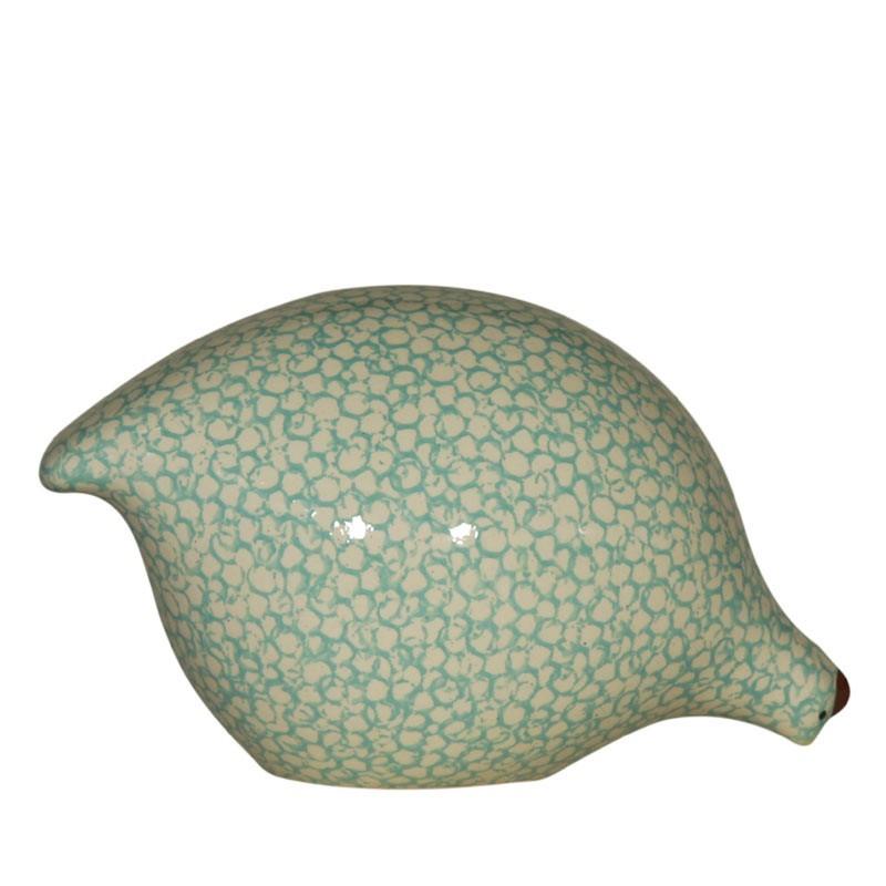 Caille en céramique de Lussan Blanc et Turquoise
