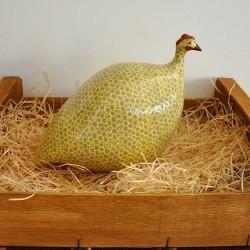 Gray-Yellow Ceramic Guinea Fowl